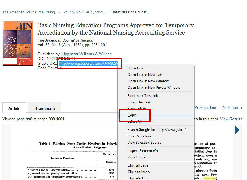 screen sample of the JSTOR website with the 'Stable URL' highlighted