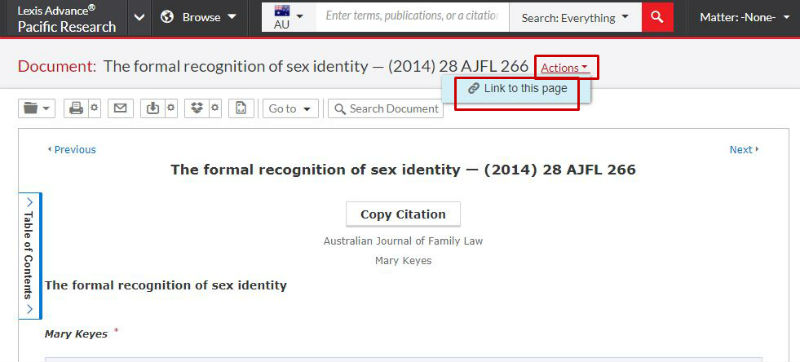 screen sample of the LexisNexis website with the 'Link to this page' highlighted