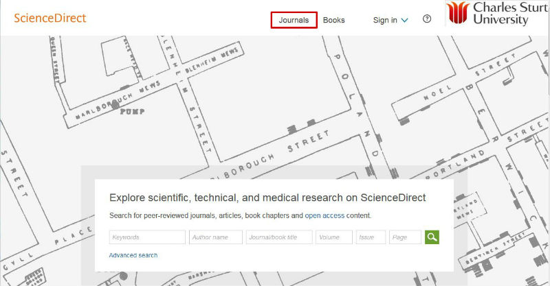 screen sample of the ScienceDirect website with the 'Journals' link highlighted