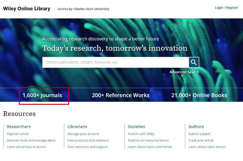 screen sample of the Wiley website with 'Publication titles' highlighted