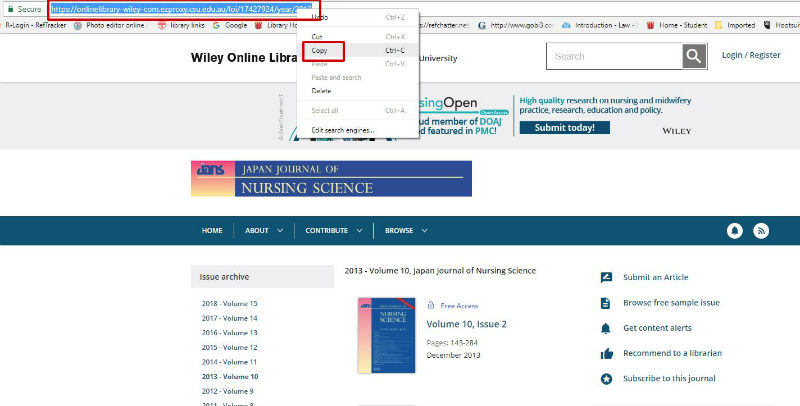 screen sample of the Wiley webstie with the URL highlighted in the address bar
