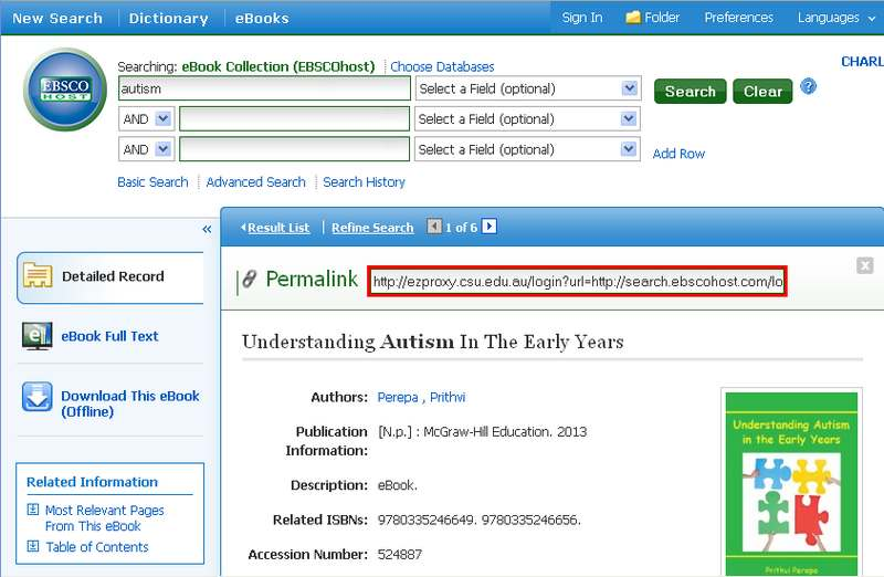 screen sample of the EBSCOhost website with the 'Permalink' URL highlighted