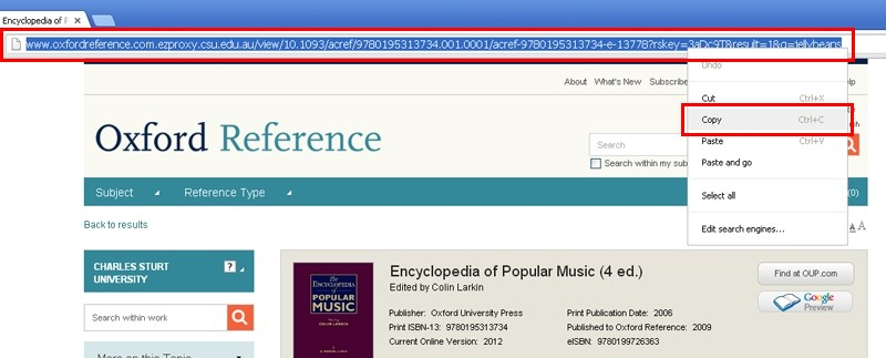 screen sample of the Oxford website with the address bar URL highlighted