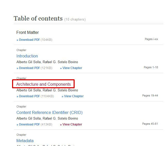 screen sample of the Springer website highlighting the chapter title link