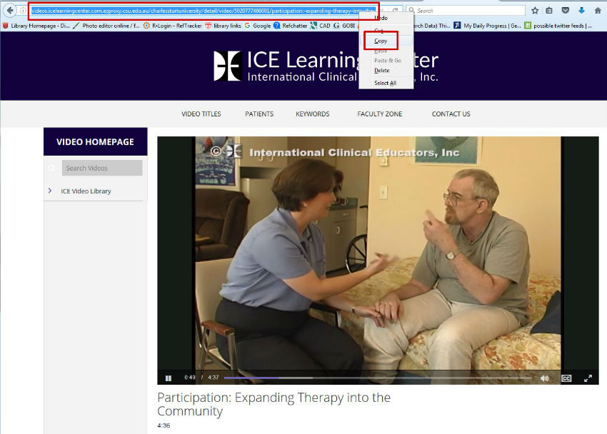 screen sample of ICE Learning video website with the URL from browser address field highlighted