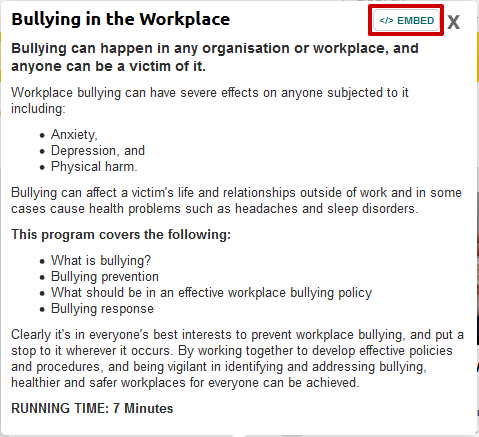 screen sample of the Safety Hub website with the 'embed' button highlighted