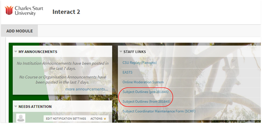 Subject outline link in the Interact2 dashboard