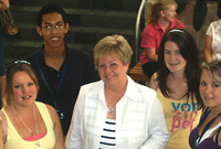 Professor Elaine Duffy with first year health students