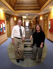 Professors Bob Perry (left) and Sue Dockett in the Murray School of Education.