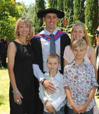 Dr Peter Adams and his family at his graduation from CSU in Wagga Wagga on Monday 12 December 2011.
