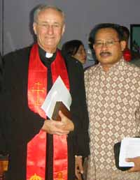Reverend Professor James Haire with Reverend Anton Piga, Moderator of the Church of Halmahera in Indonesia in January 2012.
