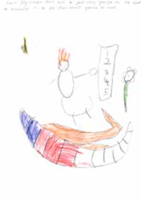 """One of the drawings from Dr Amy MacDonald's PhD. Five year old Willis, wrote: """"I put some numbers. They help us find how long and how short things are. I've seen my Daddy use a long ruler before, to measure the door. He took the front flyscreen door out to put new gauze in. He had to measure it to see how much gauze to use."""" Image courtesy of Dr MacDonald."""
