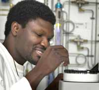 Associate Professor Samson Agboola at work at CSU in 2003.