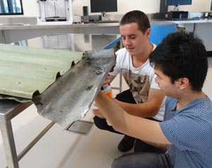 Engineering students Michael Todd (left) and Kevin Aug