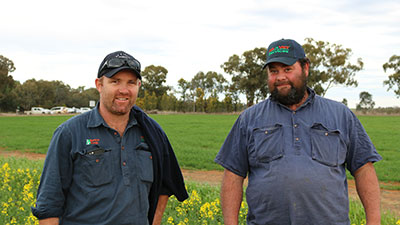 Steve Babin, Ag N Vet Temora with Evan Smart from 'Coreena' Eurongilly