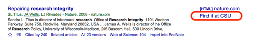 Example of a search result with the link to 'Find it at CSU' on the right