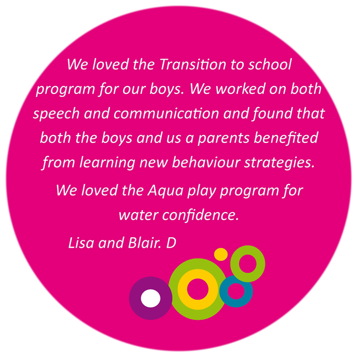 We loved the Transition to school program for our boys. We worked on both speech and communication and foun that both the boys and us as parents benefited from learning new behaviour strategies. We loved the Aqua play program for water confidence. Lisa and Blair D.