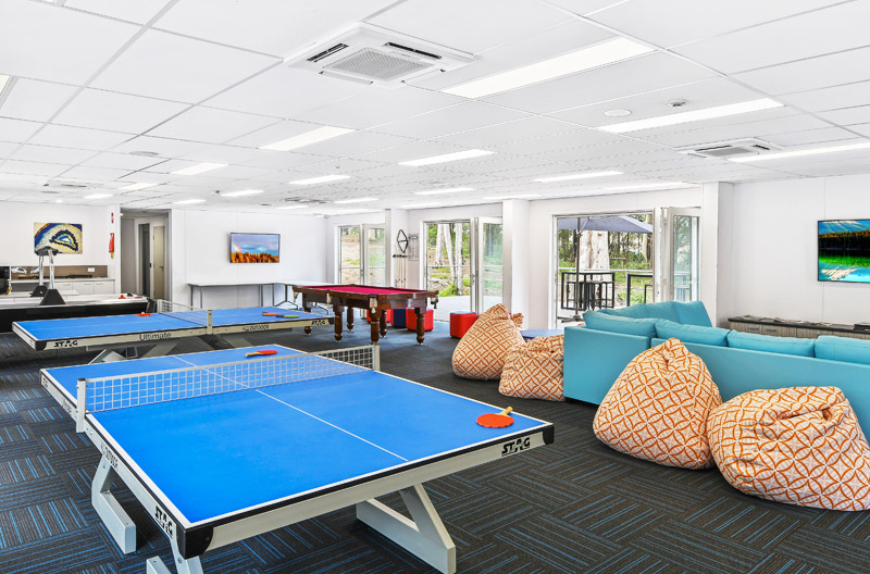 Table Tennis and bean bag seating area
