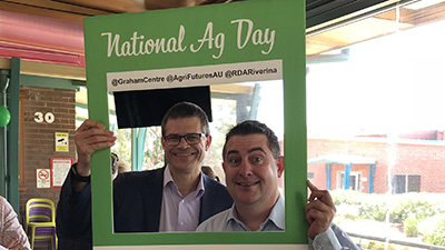 CSU Vice-Chancellor Professor Andrew Vann and FGC Director Professor Chris Blancahrd celebrate National Agriculture Day in 2018.