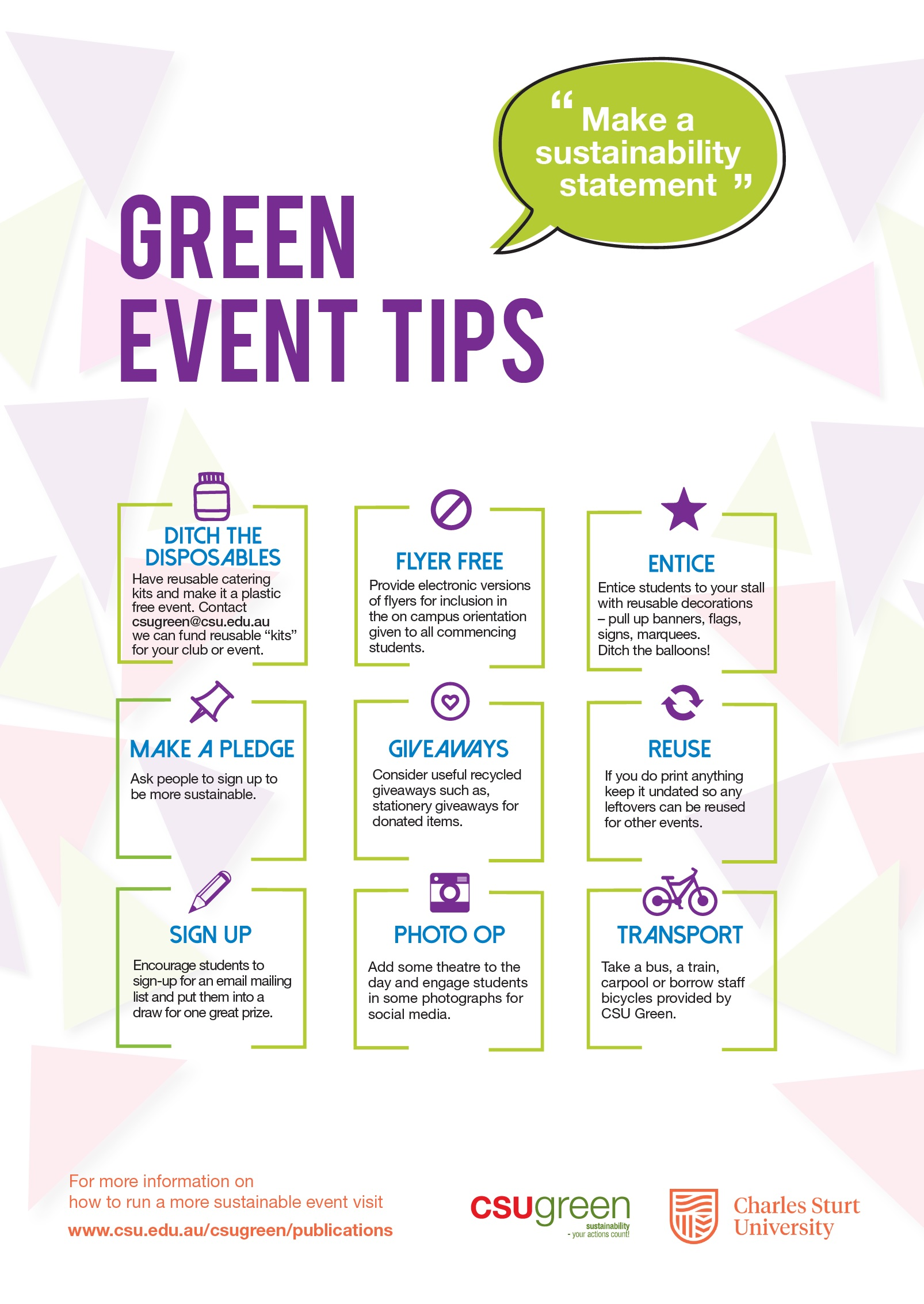 Sustainable Event Tips - Poster
