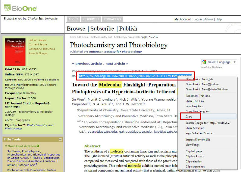 screen sample of the BioOne website with the 'DOI' highlighted