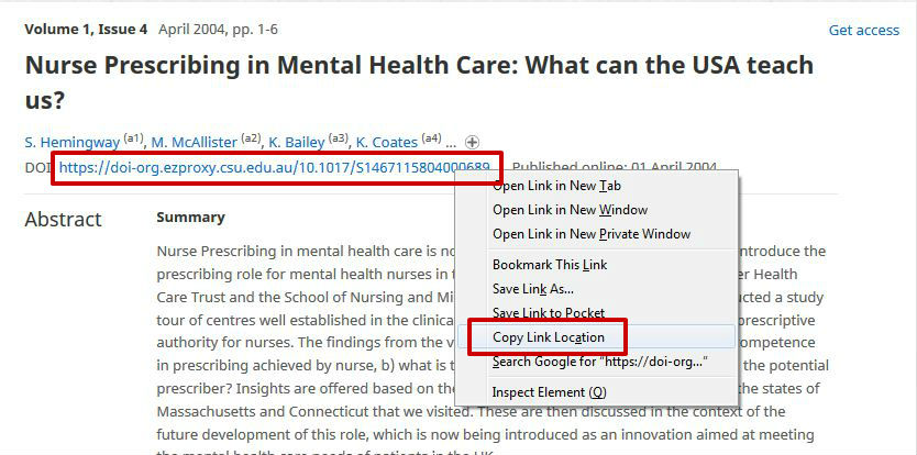 screen sample of the Cambridge Journals website with the 'DOI' link highlighted