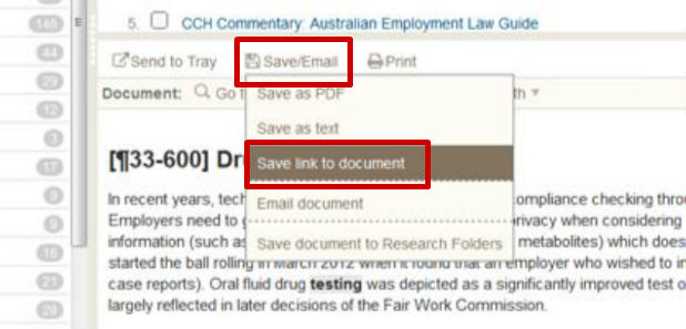 Screen sample of the CCH website with the 'Save link to document' link highlighted under the 'Save/Email' menu item