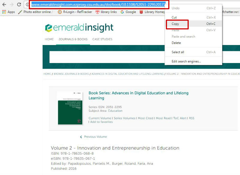 Screen sample of the Emerald eBooks website with the URL in the Address bar highlighted, showing 'Copy' option, visible with right click of mouse on URL