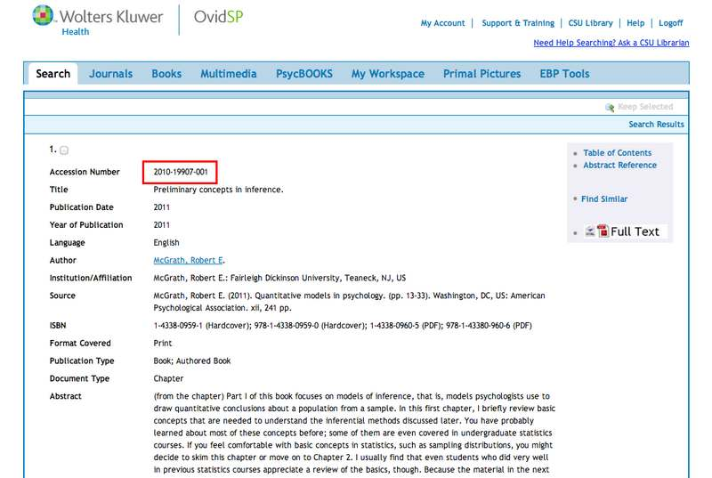 screen sample of the PsycBOOKS website with the 'Accession Number' highlighted