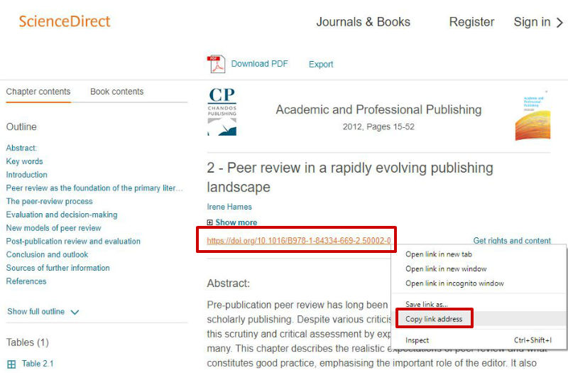 screen sample of the ScienceDirect website with the 'DOI' highlighted