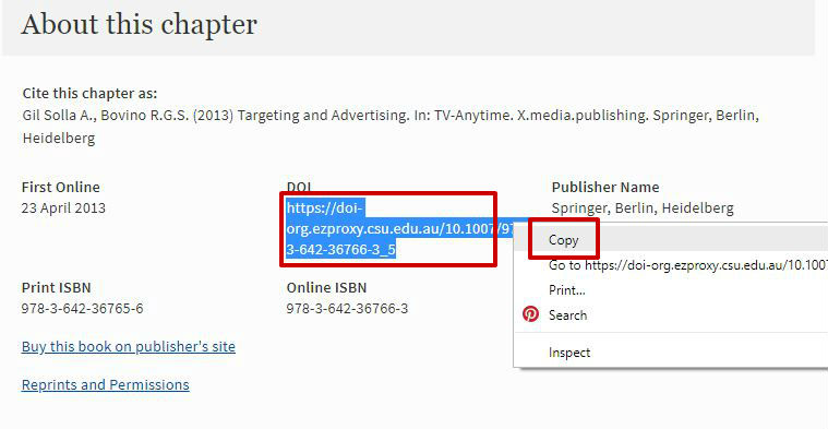 screen sample of the Springer website with the 'DOI' highlighted
