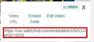 screen sample of the Safety Hub website with the 'Video URL' tab link highlighted