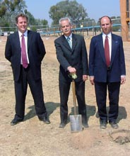 CSU VC Professor Ian Goulter (centre) turns first sod for the new academic buildings with BASF's Lance Barlow (right) and Rick Wake (left) from Country Energy.