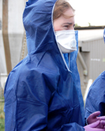 CSU veterinary science student Ms Katherine Snell at work during the bird flu outbreak