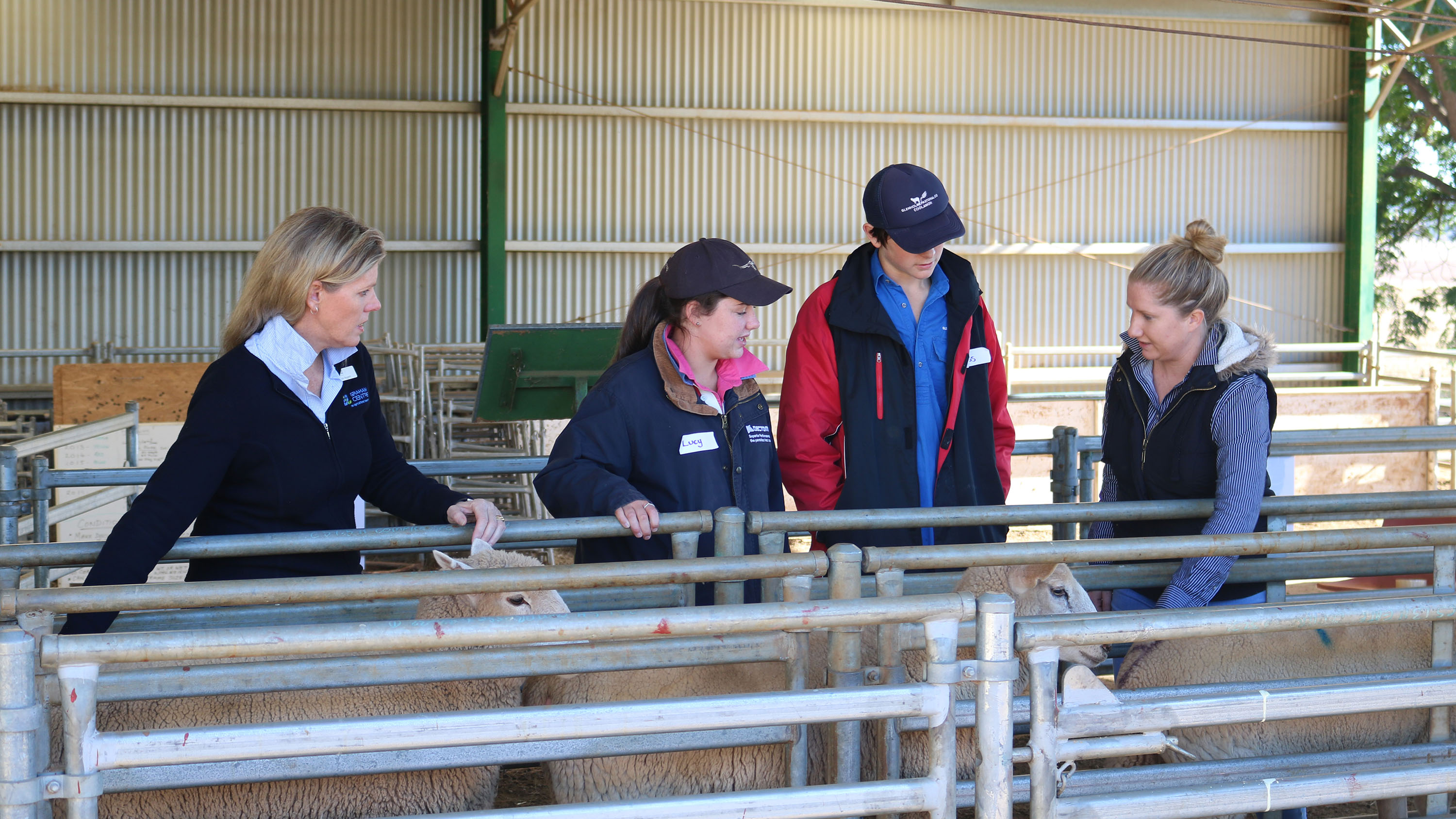 Toni Nugent, Graham Centre, Joss Cooper and Lucy Reardon from Mater Dei Catholic College and Emma Hand, Graham Centre
