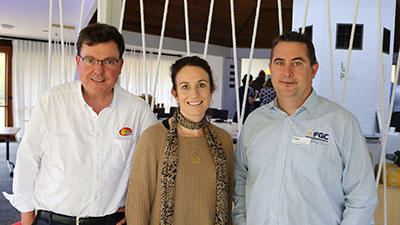 Professor Chris Blanchard (right) is pictured with Tom Howard, SunRice General Manager AGS, Grower Services and Agronomic Development,  and Heather Stokoe, SunRice R&D Manager during a workshop in May where the FGC research team presented their research outcomes.