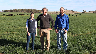 Georgia Howell, CSU farm manager James Stephens and Jack Shultz