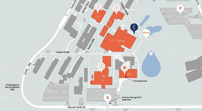 Map of Wagga Wagga campus