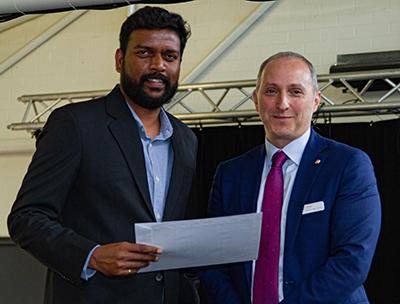 Dr Abishek Santhakumar  and CSU DVC (academich) Professor John Germov