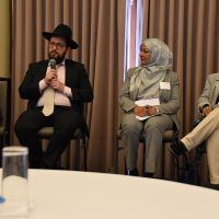 Chair Meredith Lake, Rabbi Shmueli Feldman (speaking) Mahjabeen Ahmad & Professor Kalyani Mehta at the Interfaith Panel  discussion on the conference theme 'Changing Cultures of Ageing and Spirituality'. Photograph by Sarah Stitt