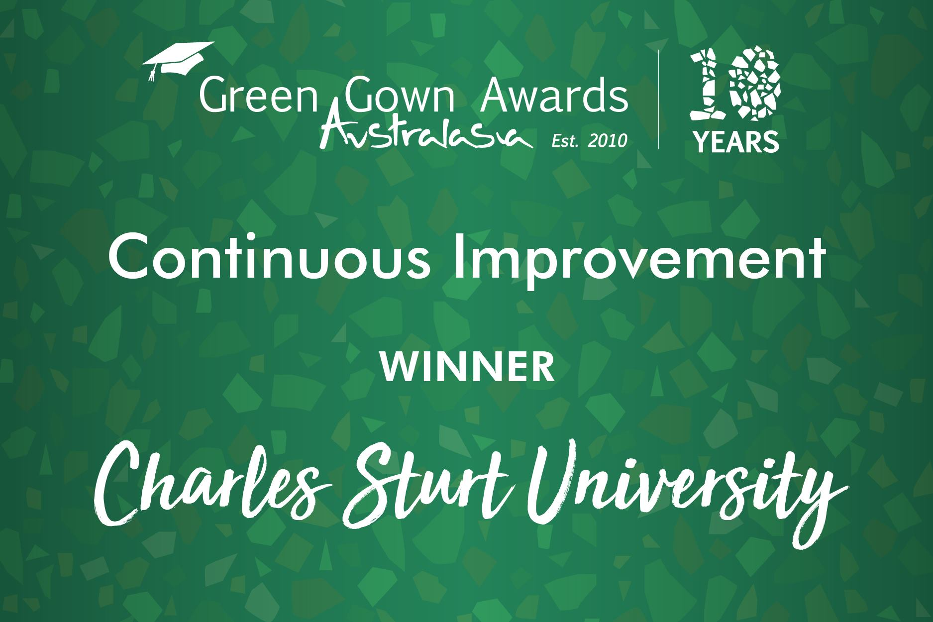 Green Gown Awards Continuous Improvement Winner 2019 - Charles Sturt University