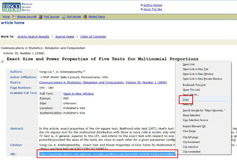 screen sample of the EBSCO website with the 'URL' highlighted