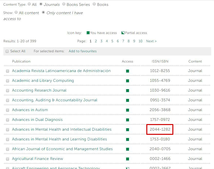 screen sample of the Emerald website with 'browse by title' and 'browse by subject' highlighted