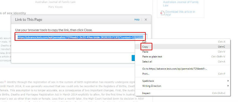 screen sample of the LexisNexis website with the article link highlighted