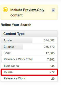 screen sample of the SpringerLink website with the 'Journal' refinement option highlighted