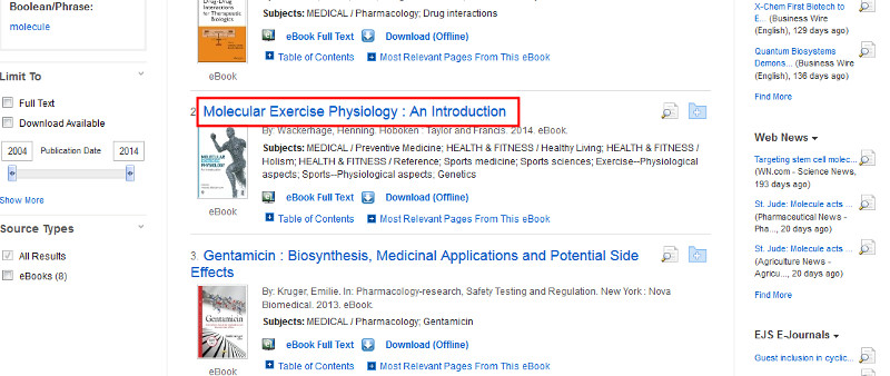 screen sample of the EBSCOhost website with the book title highlighted