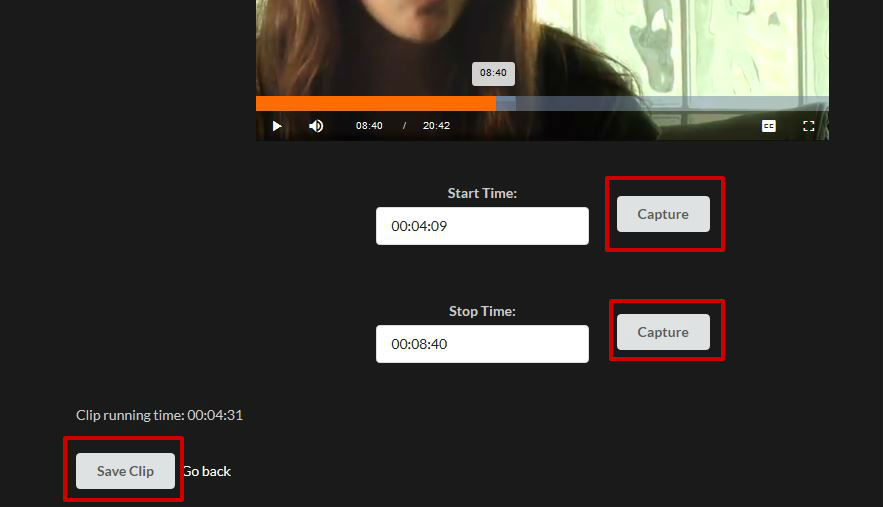 screen sample of the Kanopy website with the start, stop and Save clip highlighted