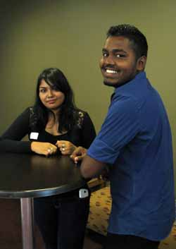 CSU students Ms Sarah Jamal and Mr Nimal Mohamed from the Maldives.