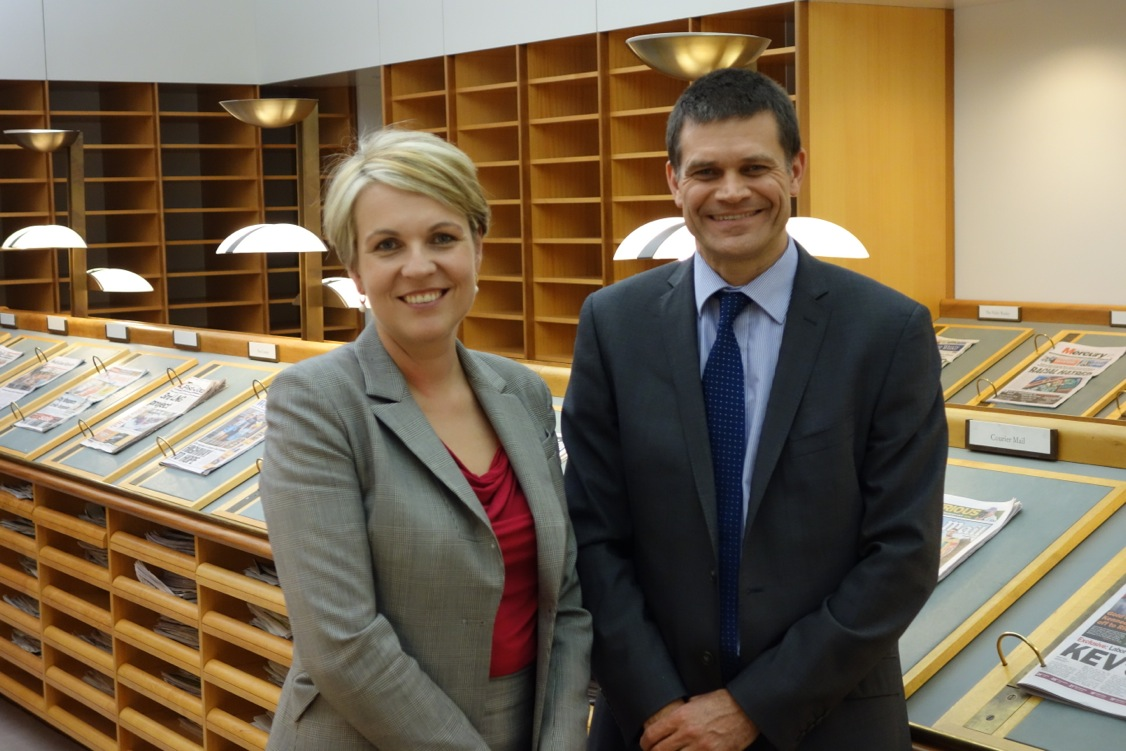 Federal Health Minister Ms Tanya Plibersek and CSU Vice Chancellor Professor Andrew Vann.