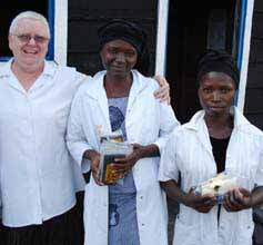 CSU academic Dr Elaine Dietsch with midwives during a previous trip to the DRC.